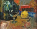 227 Still life with wine glass 44.5x38 SA Strauss